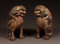 18th Century Pair of Polychrome Wood Shinto Lion-Dogs, Komainu, from Japan