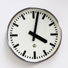 CTW Industrial Clock in polished steel from 1950's Germany