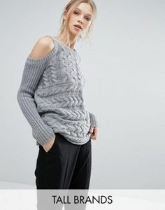 Y.A.S Tall Cold Shoulder Cable Knit Sweater
