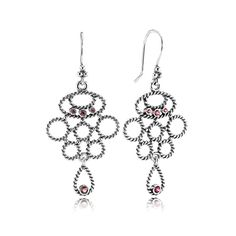 Pandora Hidden Romance with Rhodolite Chandelier Earrings