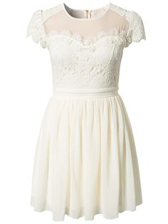 Chiffon Lace Skater Dress - Elise Ryan - Ivory - Party Dresses - Clothing - Women - Nelly.com