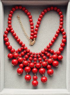Red Beaded Statement Necklace