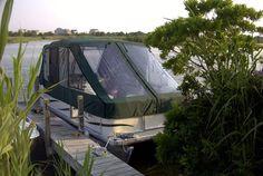 Pontoon enclosure cover with slant