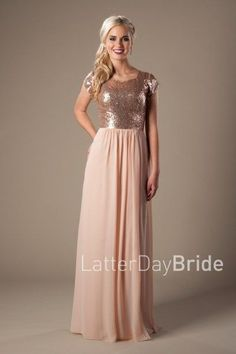 Modest Prom Dresses | 2017 Styles | LatterdayBride & Prom | SLC | Utah | Worldwide Shipping | Natalie | This lovely bridesmaid dress features a flashy sequin top complimented by a flowy sheath chiffon skirt.     Available in Rose Gold.