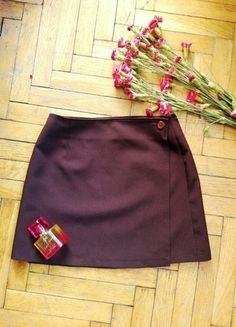 Bakłażanowa fioletowa spódnica guziki śliwka