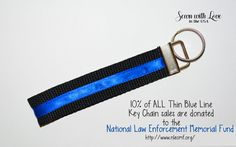 Thin Blue Line Key Chain  Support Law by SewnWithLoveInTheUSA