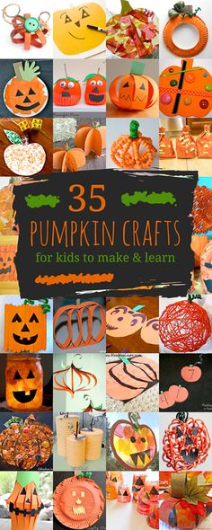 Lots of pumpkin crafts for kids to create, including pumpkins with Jack-O-Lantern faces! Plus theres crafty ways to get the kids learning with pumpkins!