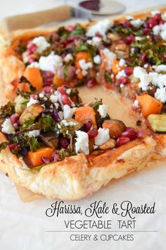 Harissa, Kale & Roasted Vegetable Tart - Celery and Cupcakes