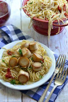 "King Oyster Mushroom ""Scallops"" and Pasta (gluten-free vegan) - Fork & Beans"
