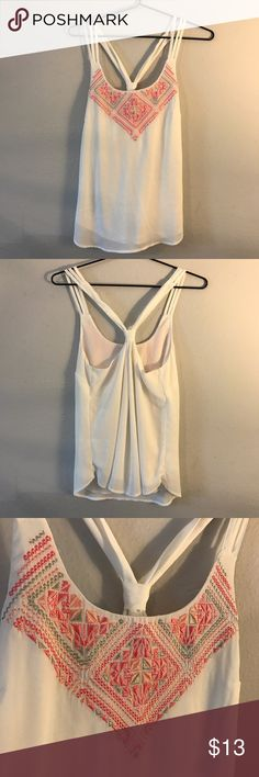 Beautiful Maurices Tank Top! Embroidered tank top from Maurices! The straps and the back detail make for a unique and different top! This was worn only a couple of times and in great condition! It's a size small, but it's very flowy! Maurices Tops Tank Tops