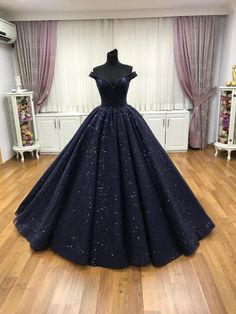 Navy blue ball gown prom dress Source by gowns prom