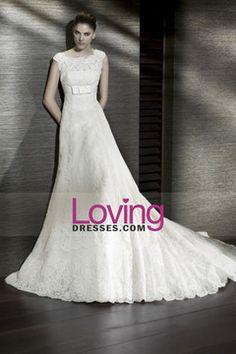 Scoop Wedding Gown A Line Court Train With Sash USD 299.99 LDPEN8ZKXK - LovingDresses.com for mobile
