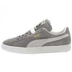 Puma Suede Classic+ Mens 352634-66 Grey White Athletic Shoes Sneakers Size 10
