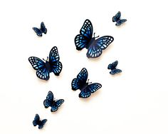 wall butterflies: blue gradient butterfly wall art for nursery, dorm, whimsical home decor Butterfly Tree, Butterfly Wall Art, Paper Butterflies, Butterfly Design, Wall Safe, Gossip Girl Fashion, Black Paper, 3d Wall, Image Shows