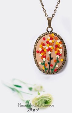 Polymer Clay Jewelry - Necklace with colorful flower - Antique Bronze Cute Polymer Clay, Polymer Clay Flowers, Polymer Clay Miniatures, Fimo Clay, Polymer Clay Charms, Polymer Clay Projects, Polymer Clay Creations, Ceramic Clay, Clay Crafts