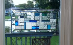 Transom beveled clear stained glass window panel blue geometric abstract stained glass panel window hanging large CBG1  25x11-3/4, $179 as of 4/14/14