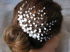 Купить Веточка в прическу невесты - белый, свадьба, свадебные аксессуары, свадебное украшение, свадебные украшения