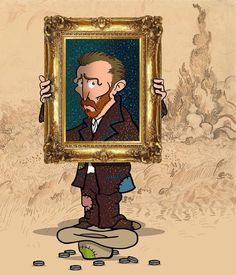 Vincent Van Gogh, Creative Illustration, Illustration Art, Cute Vans, Van Gogh Art, Love Art, Caricature, Les Oeuvres, Art History