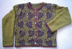 Ravelry: Freyalyn's Green Cardigan with Leaves - Poetry in Stitches