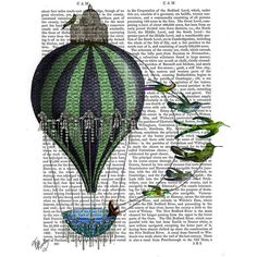 FabFunky Hot Air Balloon & Birds Print ($46) ❤ liked on Polyvore featuring home, home decor, wall art, fillers, backgrounds, blue, blue wall art, bird home decor, typography wall art and hot air balloon home decor