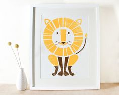 Lion Print Large Screenprint Jungle Art Poster by sassandperil, $30.00