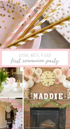 Need some ideas for a first communion party? Take a look at this pink and gold religious party. It's a modern twist on a traditional event. Communion Decorations, Gold Party Decorations, Birthday Decorations, Balloon Decorations, White And Gold Decor, Pink And Gold, Pink White, White Gold, Wife Birthday