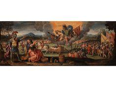 ALLEGORIE DES KRIEGES Öl auf Holz. 45,5 x 118 cm. Beiliegend eine Expertise von Ugo Ruggeri. Nach seiner Ausbildung und ersten Jahren künstlerischer...