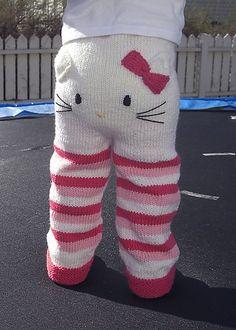 DIY Hello kitty knitted infant pants pattern by Kristine Jorskogen.