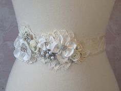Creamy Ivory Bridal Sash Wedding Belt Rhinestone by TheRedMagnolia