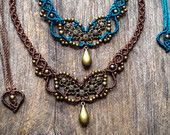 Flowers necklace Macrame boho chic choker - Custom order antique brass - bohemian micro macrame jewelry by Mariposa