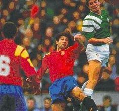 Rep of Ireland 1 Spain 3 in Oct 1993 in Dublin. Roy Keane gets a flick on the ball in the World Cup Qualifier.