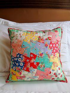 Patchwork Pinwheel pillow by zakkaart