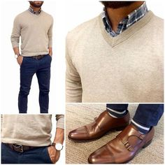 V neck sweater Outfit details #MensFashionChinos