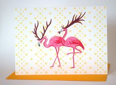 Pink Flamingo Holidays Christmas card Amelie cards and prints