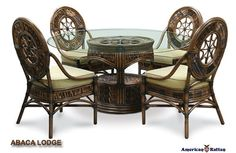 Abaca Lodge Vanatu Wicker Dining Room Set | Capris Furniture Dining Room Series 690