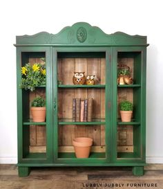 This cabinet was once a hutch top and now has its own legs. Painted in Country chic paint fireworks and sealed with wise owl satin varnish. Wood back and wood top Green Painted Furniture, Refurbished Furniture, Paint Furniture, Repurposed Furniture, Furniture Projects, Furniture Makeover, Furniture Decor, Furniture Design, Furniture Storage