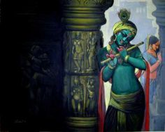 Dolna code: Magic by Kishore Roy. Acrylic on canvas, 48 x 60 (inches), Price INR Lord Krishna Wallpapers, Radha Krishna Wallpaper, Radha Krishna Love, Shree Krishna, Radhe Krishna, Krishna Tattoo, Lord Krishna Images, Krishna Pictures, Krishna Painting