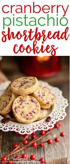 Buttery, crumbly shortbread cookies get a red and green Christmas makeover with the addition of cranberry and pistachio-the perfect holiday dessert recipe!