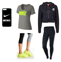"""#gym#clothing#fazhion"" by maraea-puha on Polyvore featuring NIKE and Asics"