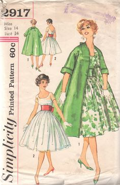 Simplicity 2917 1950s Misses Cocktail Dress Coat and Wide Bowed Belt womens vintage sewing pattern by mbchills