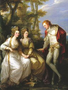 By Angelica Kauffmann: Portrait of Lady Georgiana, Lady Henrietta Frances, and George John Spencer, Viscount Althorp (1774), not long before Georgiana's marriage to the duke of Devonshire.