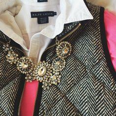 Button up, V neck sweater, vest