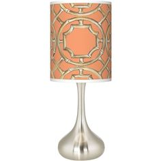 Giclee Glow Peach Bamboo Trellis Giclee Kiss Table Lamp featuring polyvore, home, lighting, table lamps, lamps, bamboo table lamp, bamboo lamps and bamboo lighting