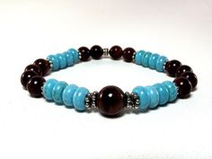Men's Red Tiger's Eye and Turquoise Beaded Bracelet by Designed By Audrey - Jewelry on ArtFire $24.00