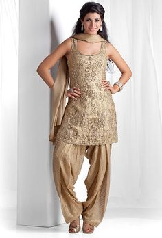 Brocade kurta with shimmer georgette patiala embellished with swarovski, kundan and sequins work