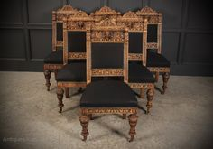 6 Bleached Carved Oak Dining Chairs - Antiques Atlas