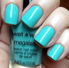"wet n wild nail polish in the shade "" i need a refresh-mint ""  doesnt chip lasts forever and such a beautiful color <3 it"