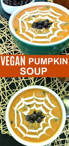 This Spicy Pumpkin Soup with black beans takes an easy seasonal vegan soup recipe over the top. Lots of texture and taste with ingredients layered one after the other for a flavor complexity that you'll want year after year. Dairy Free Recipes, Vegan Recipes Easy, Soup Recipes, Spicy Pumpkin Soup, Pumpkin Recipes, Vegetarian Soup, Vegan Soup, Black Bean Soup, Black Beans