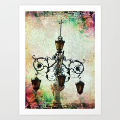 Plaza Light With Floral Texture Art Print by Cassie Peters - $14.00