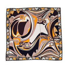 Emilio Pucci Abstract Print 100% Silk Twill Scarf   From a collection of rare vintage scarves at https://www.1stdibs.com/fashion/accessories/scarves/